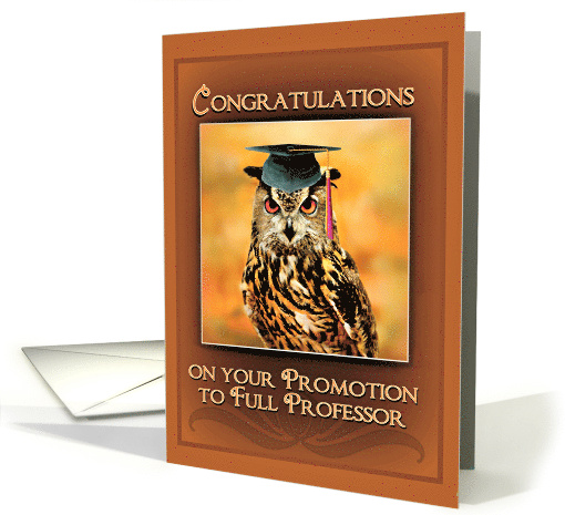 Congratulations On Promotion To Full Professor Owl In