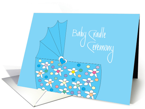 Invitation For Baby Boy Cradle Ceremony With Blue