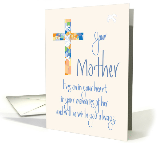 Sympathy For Loss Of Mother Stained Glass Cross With Dove