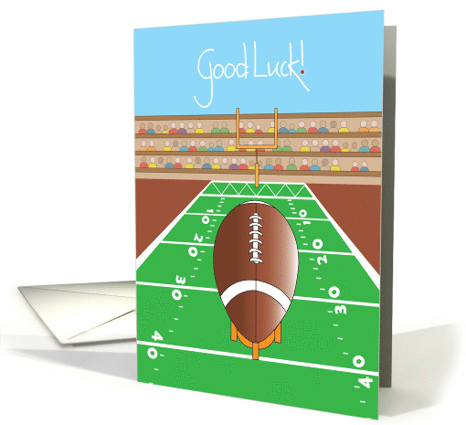 Football Good Luck With Football And Goalpost Card 955559