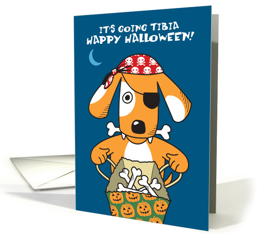 Dog In Pirate Costume With Bones Funny Halloween Pun Card