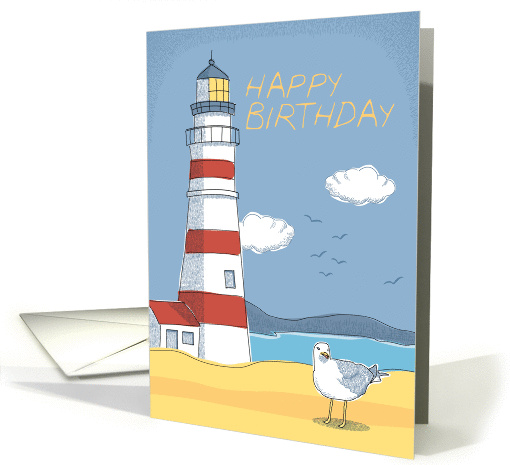 Lighthouse Seagull And Ocean Landscape Happy Birthday Card 1125114