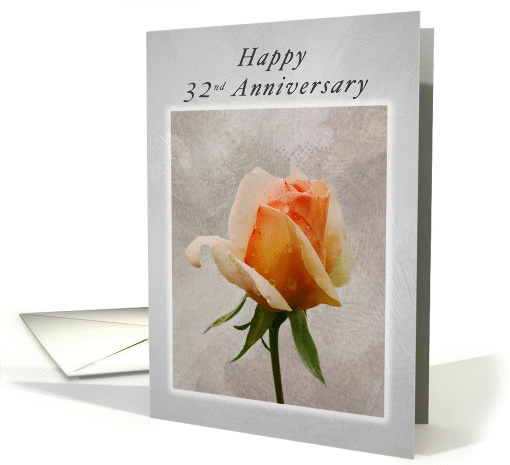 Happy 32nd Anniversary Fresh Rose On A Textured