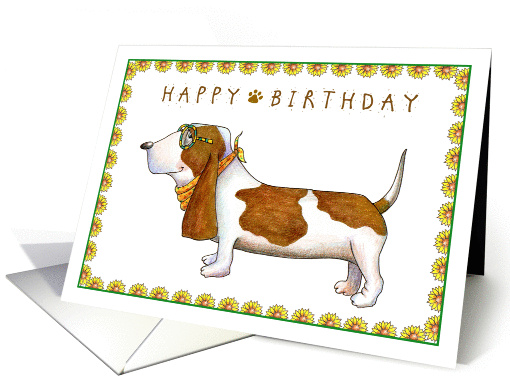 Happy Birthday Basset Hound Dog Card 980959
