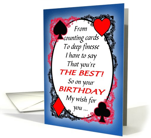 Bridge Player Or Partner Funny Birthday Card 1102944