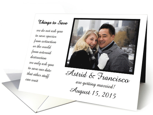 Things To Save A Funny Save The Date Poem Card 1265242
