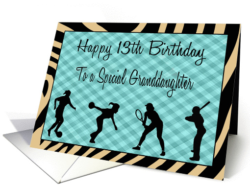 Granddaughter 13th Birthday Girl Sports Silhouettes Card 1074118