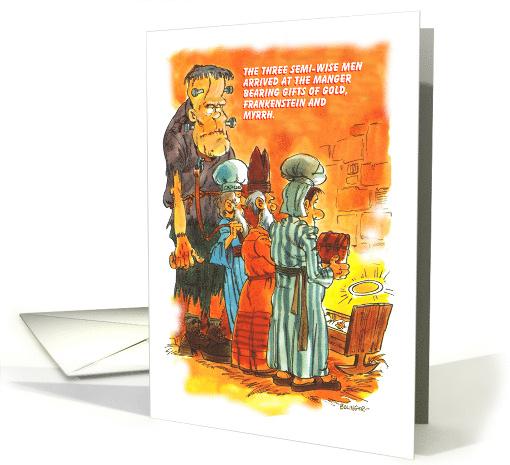 Three Cartoon Wise Men Gifting Gold Myrrh Frankenstein