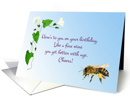 Watercolor Morning Glory And Honey Bee Birthday Wishes Card 1368428