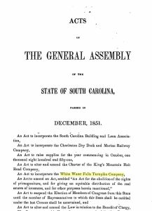 . In 1851 the White Water Falls Turnpike Company was commissioned by the South Carolina General Assembly to construct a road from the Jocassee Valley to the North Carolina line.