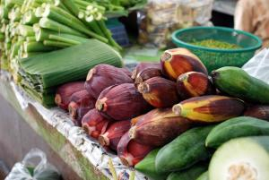 Banana Flowers and Leaves in a Thai Market Photo by CC BY-SA 3.0, Wikimedia Commons