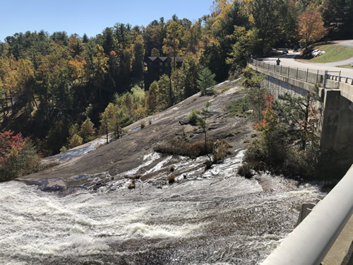 Highway 64 goes right over the top of Toxaway Falls