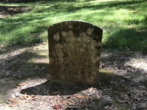 Grave marker … wife of Dr. Fuller, Died June 1887 By Old Sheldon Church Ruins