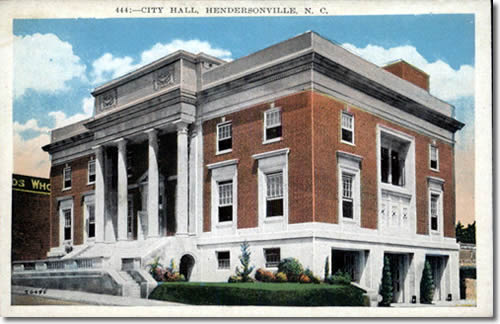 Postcard of Hendersonville City Hall. 1926-1928. A conservative, Neo-Classical Revival structure