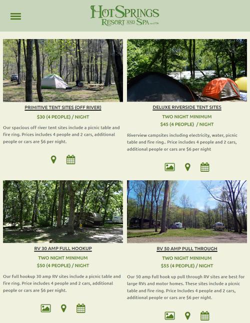 Camping at Hot Springs Resort and Spas