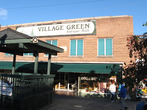 Village Green Antique Mall in the J. C. Penny Building, built in 1939 on the site of Hendersonville's Town Hall and Opera