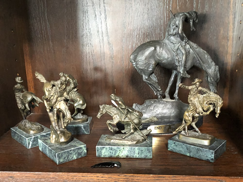Remington Figures at preview for the Indian Cave Lodge online auction
