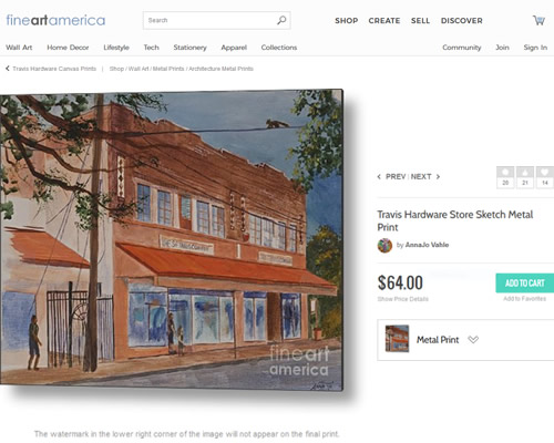 Sketch of Travis Hardware Store by AnnaJo Vahle at Fine Art America