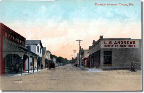 Old Postcard of Delanoy Avenue, Cocoa, Fl with SF Travis & Co on left