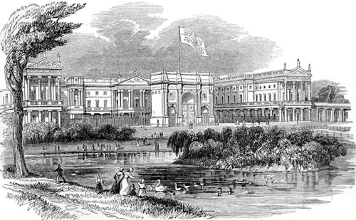 Buckingham Palace in 1842 with Marble Arch as the front gate Illustrated London News