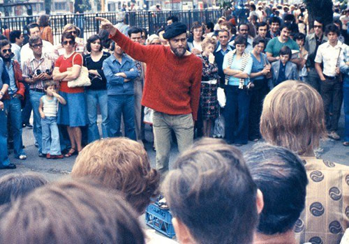 Speaker Standing on a Milk Crate at Hyde Park Speakers' Corner, Marble Arch London in 1974 Photo by George Louis