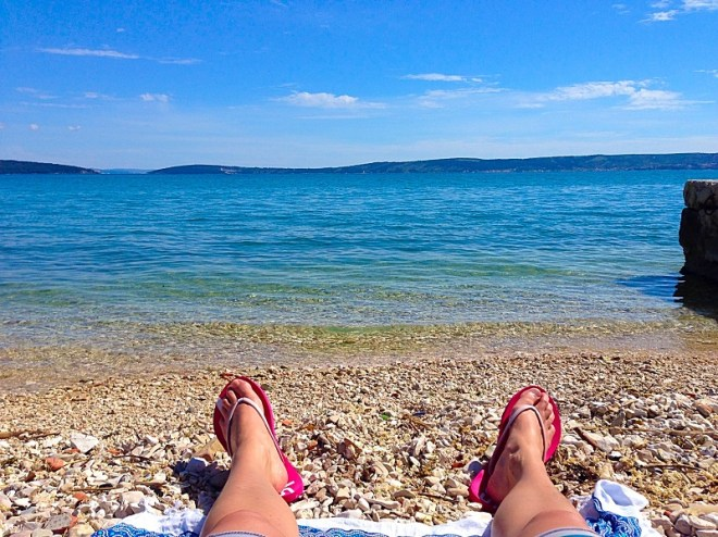 Gorgeous sea view from the shingle beach in Kastela