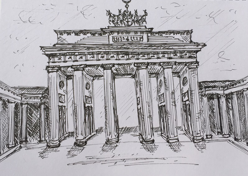 Brandenburg Gate sketch by Kelly Goss