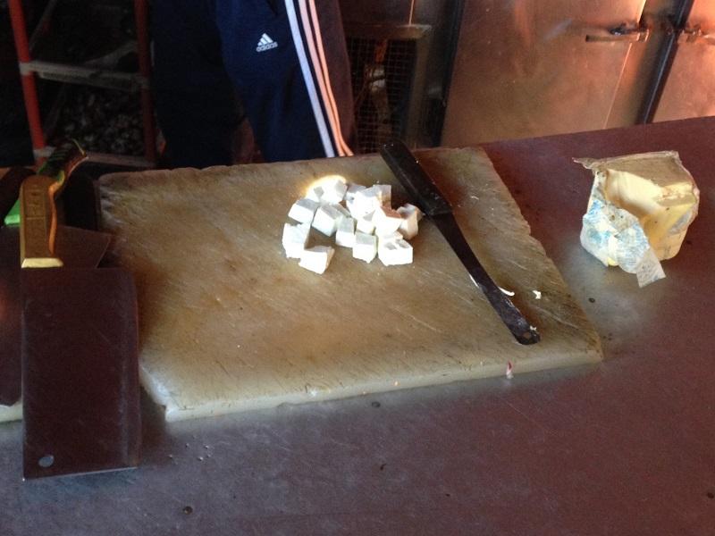 Paneer cheese preparation in Bhinsem's kitchen