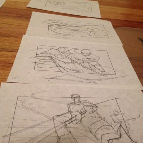 Early storyboard frames of action