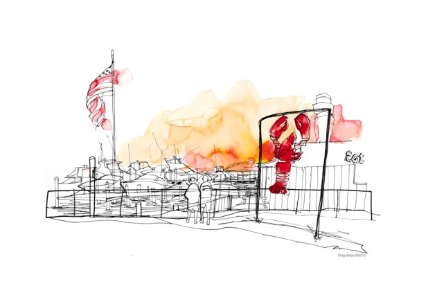 editorial reportage drawing by Greg Betza