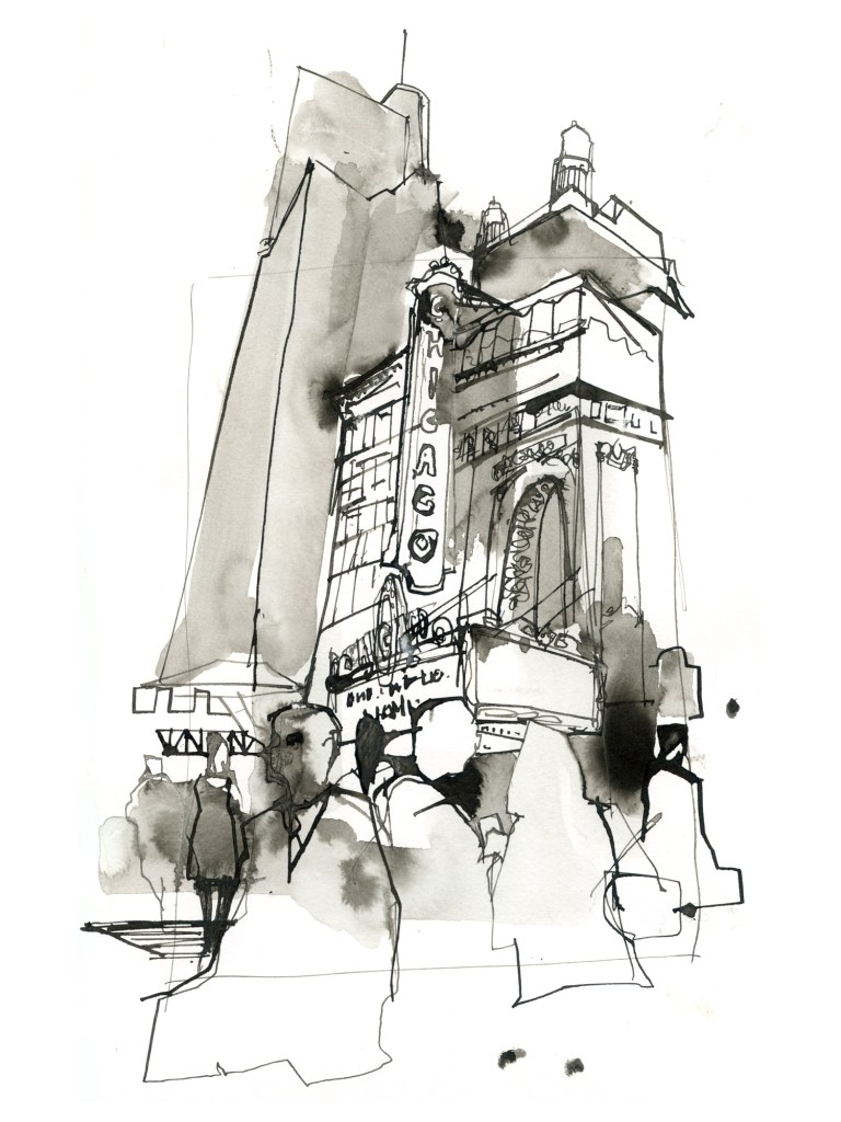 Chicago Theatre sign drawing
