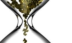 Gold dollar symbols falling through an hourglass 3d Rendering.