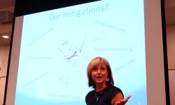 Laurie Williams presenting a slide. She is the researcher behind the list of Key Agile Practices.