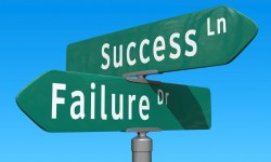 A roadpost pointing to success or failure