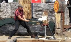 A lumberjack is chopping wood.