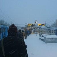 Digital snow over Stockholm