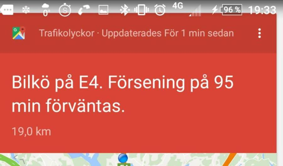 A screen shot of Google warning me about traffic