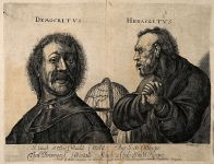 Democritus laughing and Heraclitus weeping, with a globe