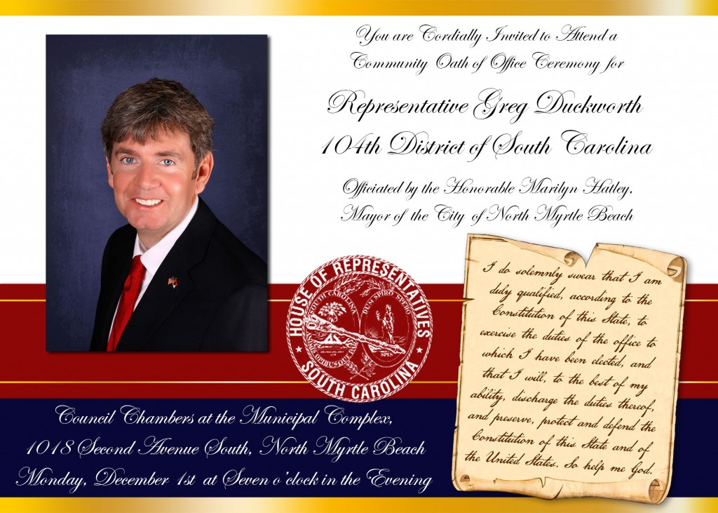 Greg Duckworth | Invitation To Attend A Community Oath Of Office Ceremony  For Greg Duckworth  Oath Of Office Template
