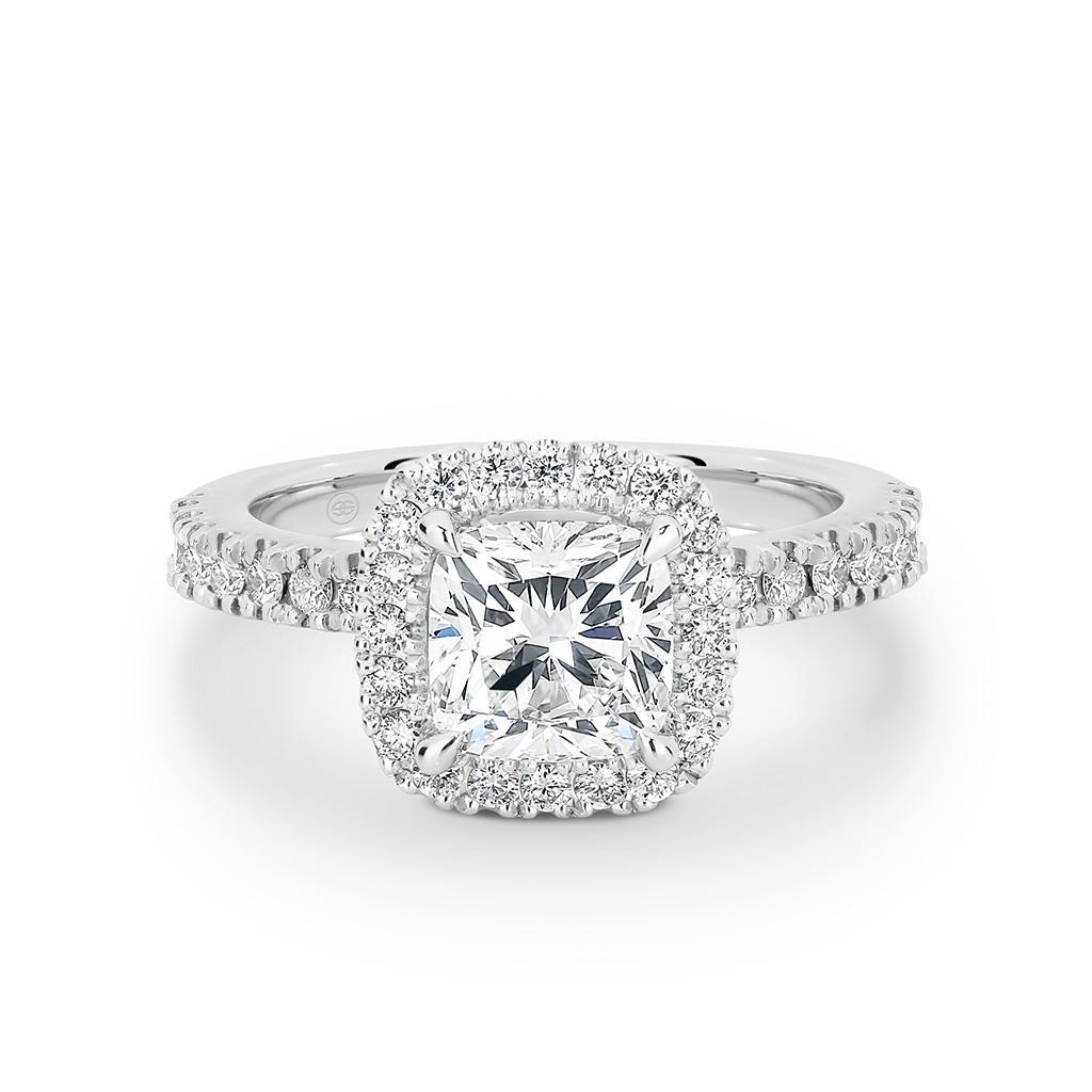 cushion cut halo diamond engagement