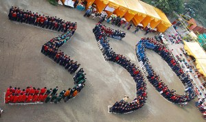 "People forming ""350"" in India"