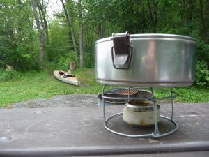 Nedderman's homemade, ultralight alcohol-burning stove.