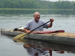 Nedderman on the water in his Klepper folding kayak.