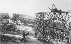 Soo Line (Arcola) High Bridge on the St. Croix River under construction in 1910