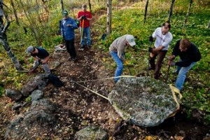 COGGS members building a technical section of trail in Piedmont Park