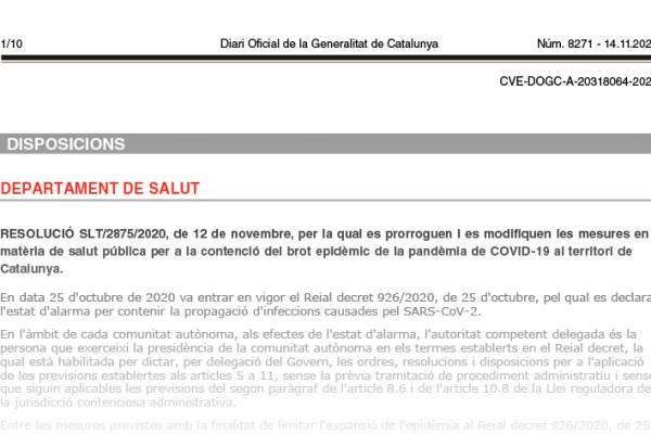 RESOLUCIÓ SLT/2875/2020, de 12 de novembre, Diari Oficial de la Generalitat de Catalunya