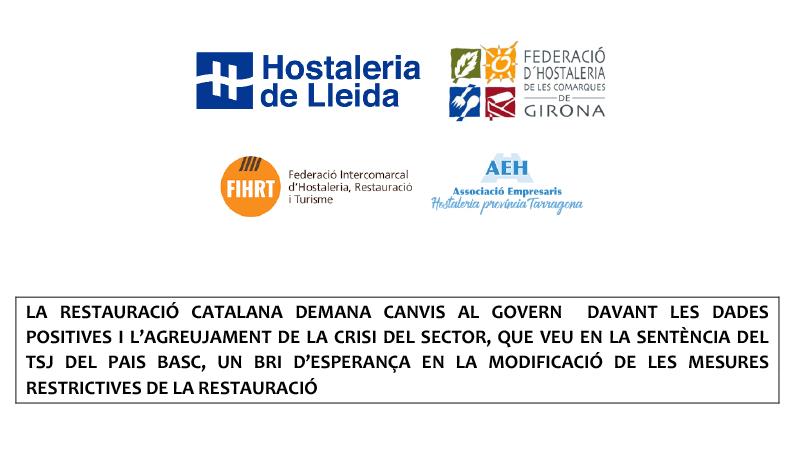 La restauració catalana demana canvis al govern davant les dades positives i l'agreujament de la crisi del sector, que veu en la sentència del TSJ del Pais Basc, un bri d'esperança en la modificació de les mesures restrictives de la restauració