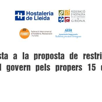 Resposta a la proposta de restriccions del govern pels propers 15 dies