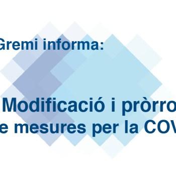 modificació i pròrroga de mesures per la COVID