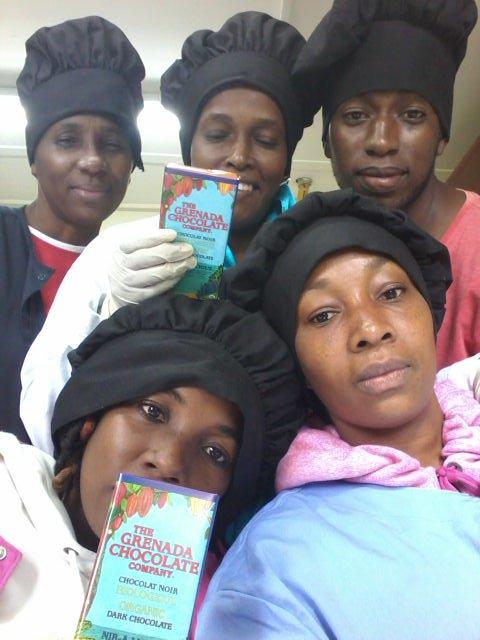 The Grenada chocolate company wrapping crew